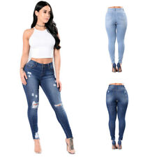 Denim Pants High Waisted Ripped Knee Womens Jeans  Skinny Fit Stretch