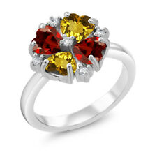 2.10 Ct Heart Shape Yellow Citrine Red Garnet 925 Sterling Silver Ring