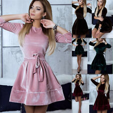 New Womens Velvet Belted Dress Ladies Party Cocktail Slim Short Mini Swing Dress