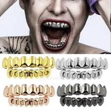 Silver Gold Vampire Flat Grills 8 Top and 8 Bottom Teeth Caps Grill Combo