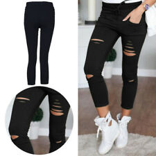 Ladies Pants New Womens Slim Fit Stretchy  Faded Ripped Skinny Leggings Trousers