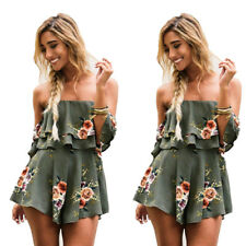 Holiday Playsuit Womens Jumpsuit Summer Romper Ladies Printed shorts Beach Dress