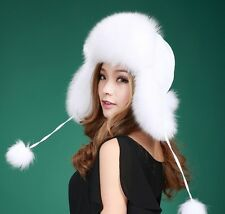 New 100% Real Fur Russian Polyester Top Ushanka Trapper Winter Trooper Hat Caps