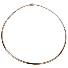 Women 14K Rose Gold Chain 3mm Flat Omega Necklace Chain