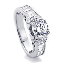 Women Sterling Silver 1.5ct CZ Baguette Accented Band Wedding Engagement Ring