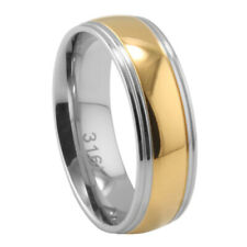 Men Women 7MM Stainless Steel Two Tone Domed Wedding Band