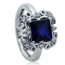 Women Silver 1.75 ct Princess Simulated Blue Sapphire CZ Wedding Engagement Ring