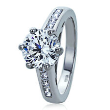 Women Sterling Silver Wedding Ring 1.9ct Round CZ Solitaire Engagement Ring