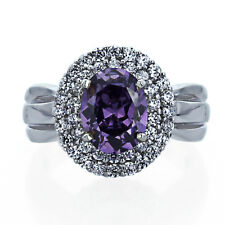 Women Sterling Silver 2ct Oval Oval Simulated Amethyst CZ Halo Cocktail Ring