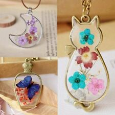 Retro Bronze Dried Flower Resin Necklace Butterfly Moon Cat Cute Pendant Jewelry