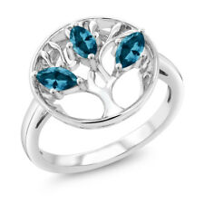 0.81 Ct Marquise London Blue Topaz 925 Sterling Silver 3-Stone Ring