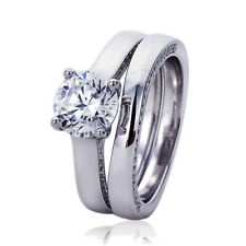 Women Sterling Silver Rhodium Plated 2ct CZ Wedding Engagement Bridal Ring Set