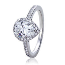 Women Silver Rhodium Plated 1.75 ct Pear CZ Halo Solitaire Engagement Ring