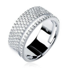 Women Sterling Silver Rhodium Plated Modern Double Band CZ Pave Set Ring 8mm