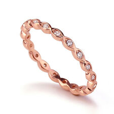 Women Silver 14K Rose Gold Plated CZ Stackable Band Endless Eternity Ring 2MM