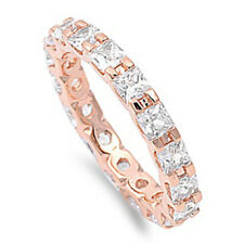 Women Silver 14K Rose Gold Plated Princess CZ Rose Tone Eternity Ring Band 3MM