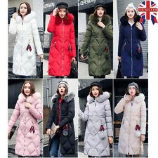 Womens Jacket Coat Ladies Hooded Quilted Fur Puffer Collar Winter Parka Outwear