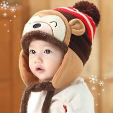 Baby Toddler Monkey Ear flap Beanie Winter Knitted Pom Boy Girl Warm Fitted Hat