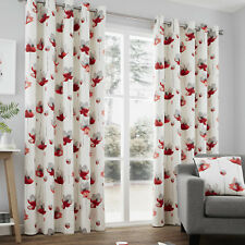 Contemporary Hand Painted Poppy Floral Print Ring Top Curtains, Red