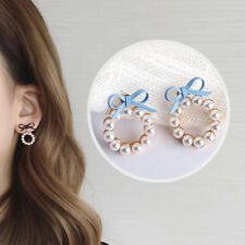 Bow Tie Women Pearl Round Geometry Lovely Earring 1Pcs