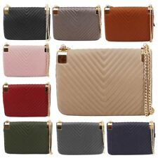 New Ladies Faux Leather Quilted Gold Chain Strap Party Clutch Bag Purse