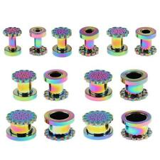 1 Pair Colorful Stainless Steel Screw Ear Gauges Tunnels Plugs Stretchers
