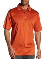 Peter Millar Crown Men's Short Sleeve Solid Cotton Lisle Polo Rust $89 msrp NWT