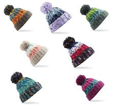 Beechfield Corkscrew Knitted Lined Pom Pom Beanie Bobble Hat BC486 7 Colours