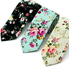 Mens Floral Paisley Cotton Skinny 6cm Necktie Party High Quality Tie 3 Stype Top