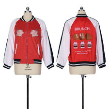 Women Casual Jacket Coat Brunch Character Colorful Embroidery Baseball Uniform