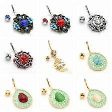 14G Stainless Steel Vintage Belly Button Navel Ring Holow Drop Gemstone Dangle