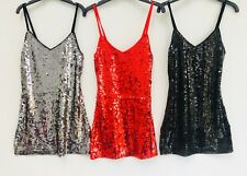 🖤 Girls Sequin Cami Party Dress Ages 3-14 Red Black Silver Kids Child Sparkly