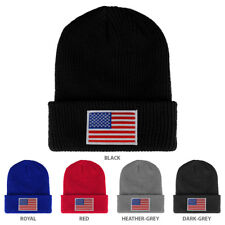WHITE American Flag Embroidered Patch Ribbed Cuffed Knit Beanie -  FREE SHIPPING