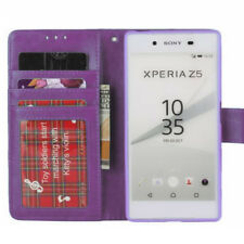 Luxury Purple Wallet Case For Sony Xperia Z5 with TPU Gel Holder