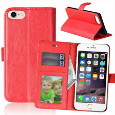 Red Flip Wallet with Card Slot & Stand Cover Phone Case for Apple iPhone 8