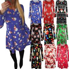 Women Christmas Dress Long Sleeve Mini Dress Party Evening Sweater Dress G2N8