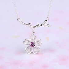 HH- Cherry Blossoms Flower Branches Pendant Necklace Women Elegant Jewelry Lates