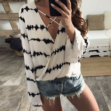 Stripe Printed Tops  Blouse Women  Bandage Blouse  Loose Long Sleeve Casual