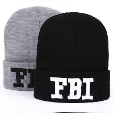 FBI Letter Beanie Winter Knit Cap Hat Black Grey Unisex Casual Wool Gorro Adult