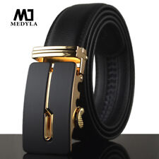 Quality Cowskin Genuine Luxury Leather Men's Belts Strap Metal Automatic Buckle
