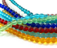 """PICK COLOR 2x 8"""" 10mm round sea beach glass beads frosted recycled red blue"""