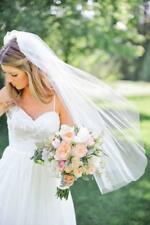 New 1 Layer Cut Edge Ivory White Wedding Elbow Bridal veil with comb 60 cm