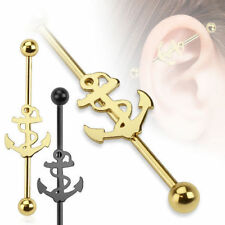Industrial Piercing Anchor Black Gold Barbell Piercing Ear Surgical Steel 316L