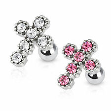 Tragus Helix Cartilage Piercing Vintage Cross with Crystals Ear Piercing