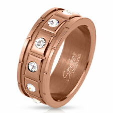 Men's Women's Ring Rose Gold IP Stainless Steel with Grooves and 12 CZ Cristals
