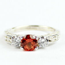 • SR254, Created Padparadsha Sapphire, Sterling Silver Ladies Ring -Handmade