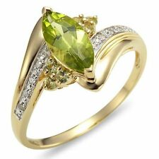 Fashion Size7,8,9 Olive Cut Peridot  10KT Gold Filled AAA Wedding Ring For Woman