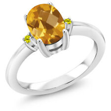 1.28 Ct Oval Checkerboard Yellow Citrine Canary Diamond 925 Sterling Silver Ring