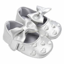 NEW Baby Girl Silver Hearts Bow Leather Mary Jane Crib Shoes 0-6 6-12 12-18 M