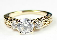 • R254-14, Cubic Zirconia w/ 2 Accents, 14k Yellow Gold Ladies Ring - Handmade